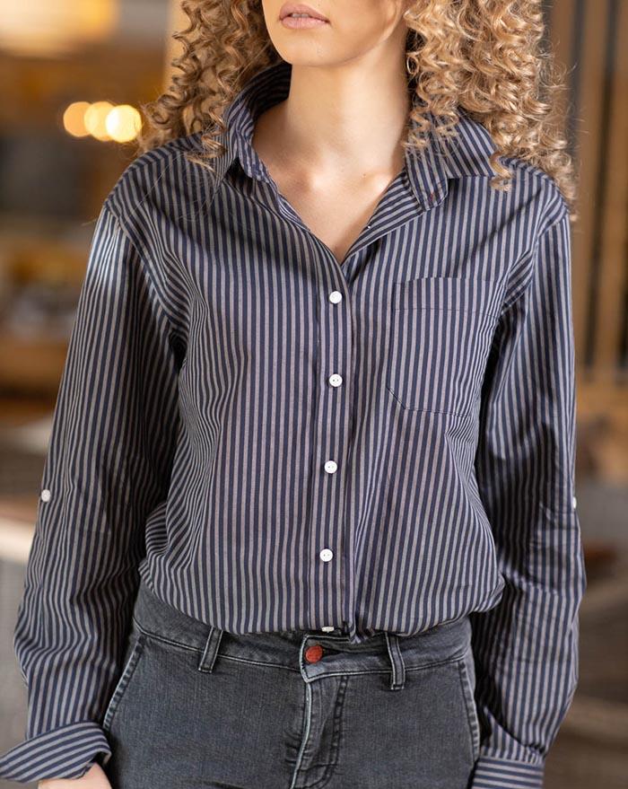 Boyfriend shirt - grey blue stripes