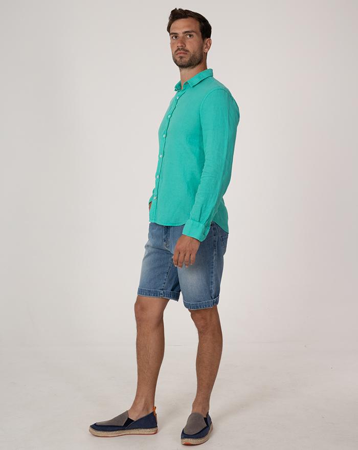 Azur Linen Green Shirt