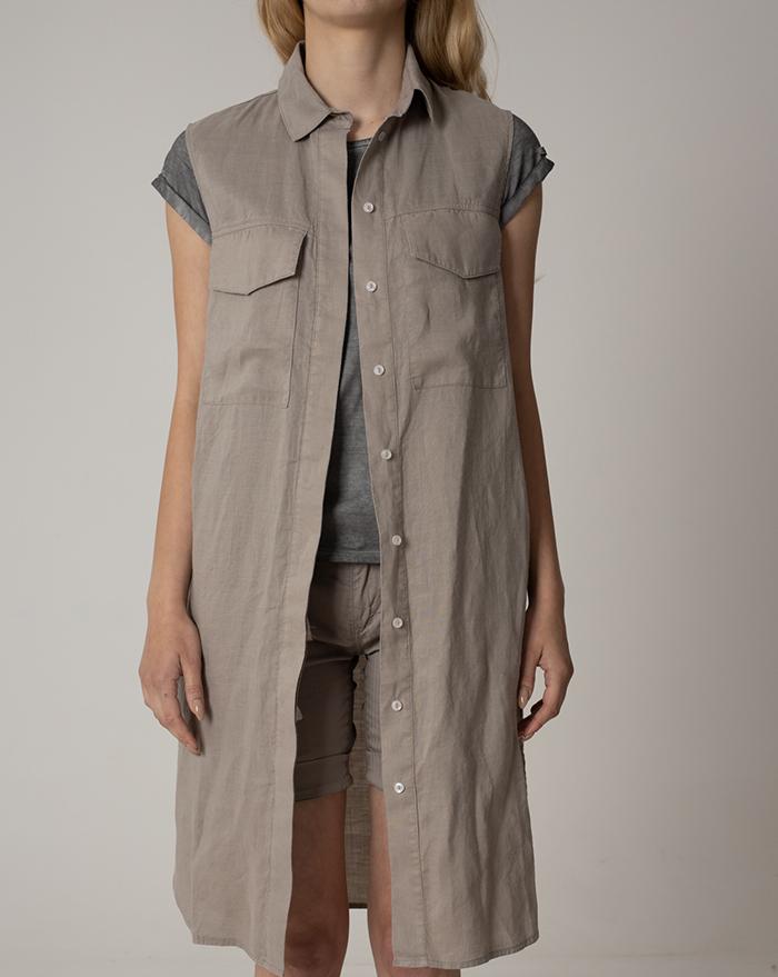 Dress Shirt Venecia Brown Linen