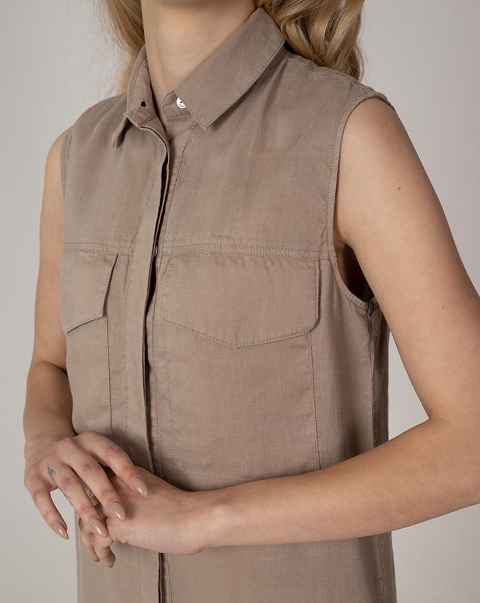 Dress Venecia Long Linen Brown